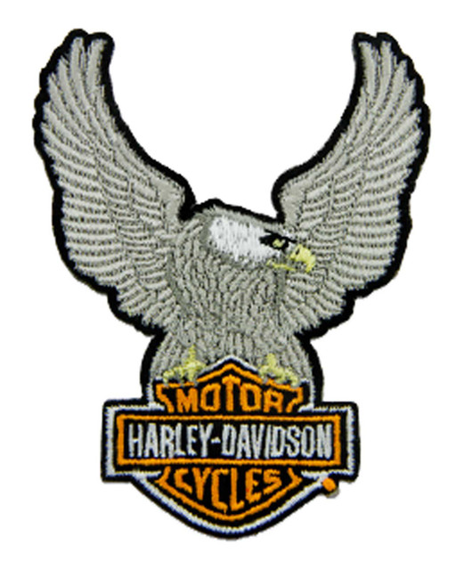 Harley-Davidson 3.5 in Embroidered Silver Eagle Bar & Shield Emblem Sew-On Patch - Wisconsin Harley-Davidson