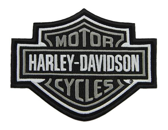Harley-Davidson 5.6 inch Embroidered Gray Bar & Shield Logo Emblem Sew-On Patch - Wisconsin Harley-Davidson
