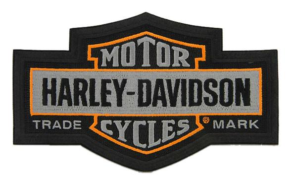 Harley-Davidson 7.25 in. Embroidered Trademark Bar & Shield Emblem Patch - Gray - Wisconsin Harley-Davidson