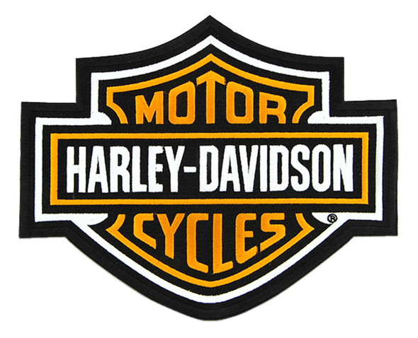 Harley-Davidson 9.25 inch Embroidered Orange Bar & Shield Logo Emblem Patch - Wisconsin Harley-Davidson