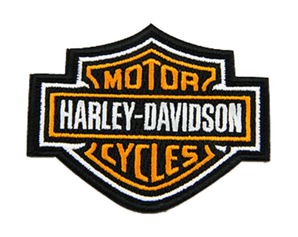 Harley-Davidson 3 inch Embroidered Orange Bar & Shield Logo Emblem Sew-On Patch - Wisconsin Harley-Davidson