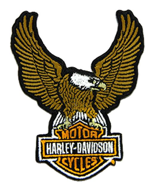Harley-Davidson 3.5 in Embroidered Brown Eagle Bar & Shield Emblem Sew-On Patch - Wisconsin Harley-Davidson