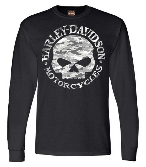 Harley-Davidson Men's Camo Willie G Skull Long Sleeve Crew-Neck Shirt - Black - Wisconsin Harley-Davidson