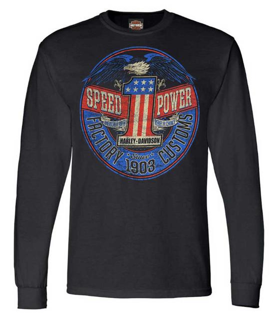 Harley-Davidson Men's Rebel #1 RWB Logo Long Sleeve Crew-Neck Shirt - Black - Wisconsin Harley-Davidson