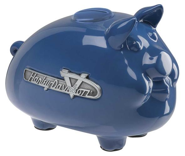 Harley-Davidson Ceramic 1950s Tank Emblem Graphic Medium Size Hog Bank - Blue - Wisconsin Harley-Davidson