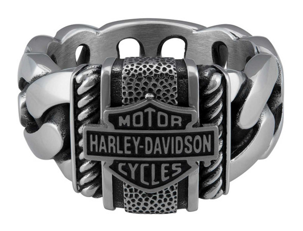 Harley-Davidson Men's Bar & Shield Curb Link Stainless Steel Metal Ring, Silver - Wisconsin Harley-Davidson
