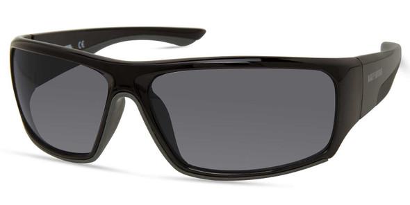 Harley-Davidson Men's Wide Wrap Sunglasses, Shiny Black Frame/Smoke Lenses - Wisconsin Harley-Davidson