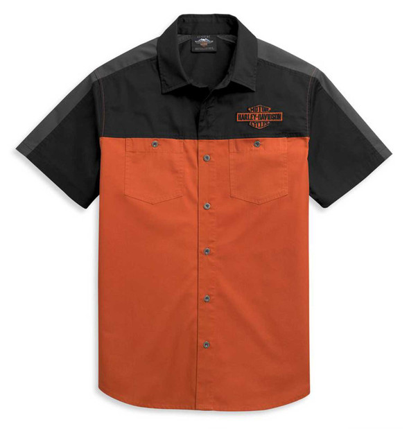 Harley-Davidson Men's Colorblocked Logo Short Sleeve Woven Shirt 96455-21VM - Wisconsin Harley-Davidson
