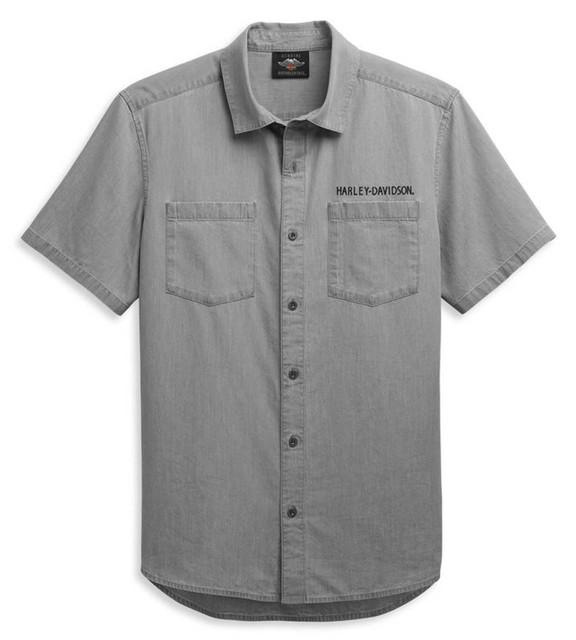 Harley-Davidson Men's Bar & Shield Logo Denim Short Sleeve Shirt 96447-21VM - Wisconsin Harley-Davidson