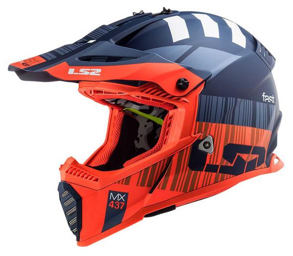 LS2 Helmets Gate XCODE Full Face MX Motorcycle Helmet, Matte Flou Orange/Blue - Wisconsin Harley-Davidson