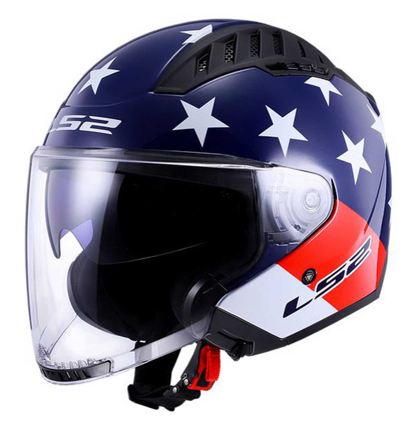 LS2 Helmets Copter Open Face Sun Shield Motorcycle Helmet - Red/White/Blue - Wisconsin Harley-Davidson