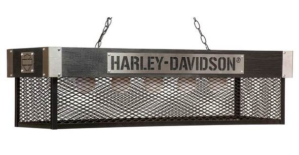 Harley-Davidson Industrial Motorcycle Metal & Wood Billiard Hanging Lamp - Black - Wisconsin Harley-Davidson