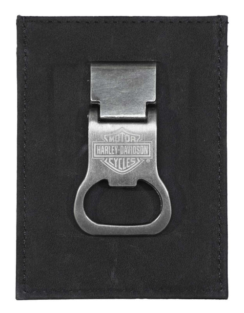 Harley-Davidson Men's B&S Front Pocket Money Clip Leather Wallet - Black - Wisconsin Harley-Davidson