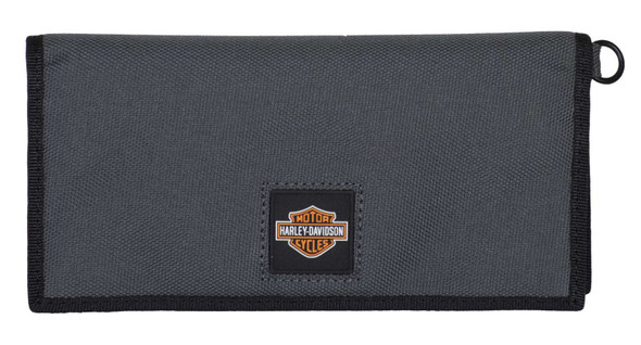 Harley-Davidson Men's Full Speed Bi-Fold Trucker Polyester RFID Wallet - Gray - Wisconsin Harley-Davidson