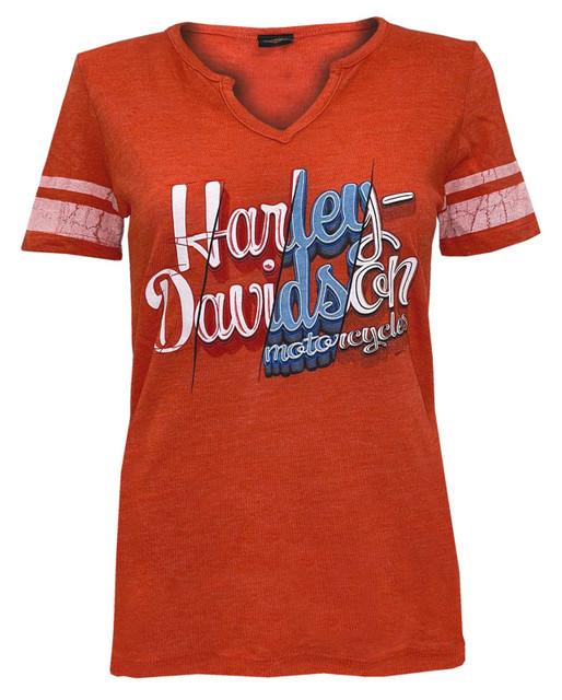 Harley-Davidson Women's Genuine Fury Short Sleeve Notched V-Neck Tee - Orange - Wisconsin Harley-Davidson