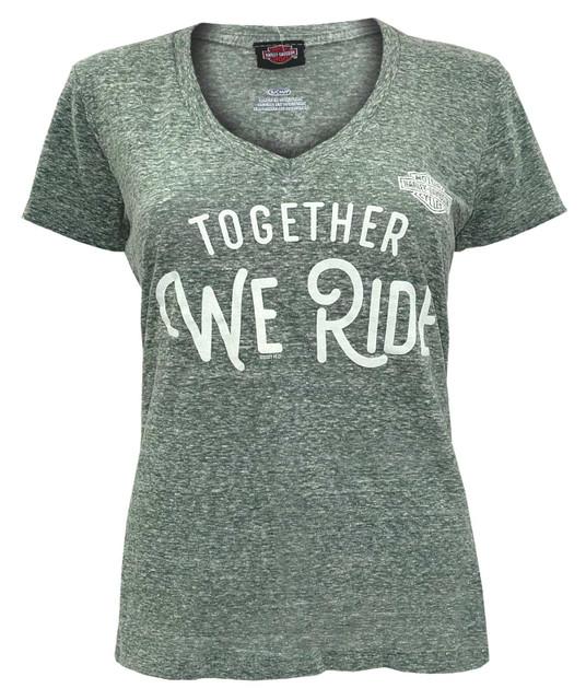 Harley-Davidson Women's Together We Ride Deep V-Neck Short Sleeve Tee - Green - Wisconsin Harley-Davidson