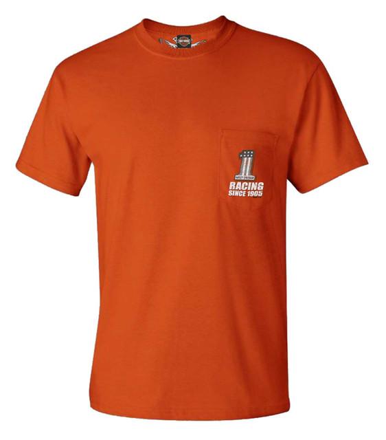 Harley-Davidson Men's #1 Logo Racing Chest Pocket Crew-Neck T-Shirt, Orange - Wisconsin Harley-Davidson