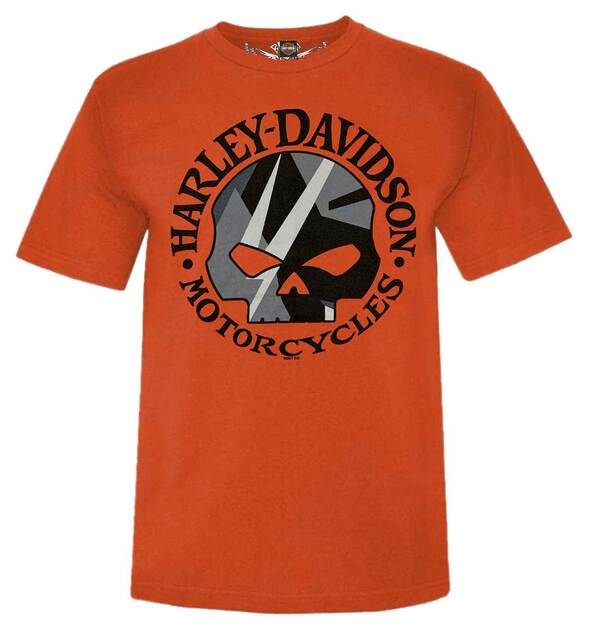 Harley-Davidson Men's Willie G Skull Logo Short Sleeve Crew-Neck T-Shirt, Orange - Wisconsin Harley-Davidson