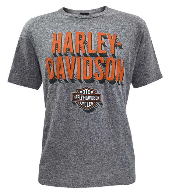 Harley-Davidson Men's Hungry Highway Crew Short Sleeve Striped T-Shirt - Gray - Wisconsin Harley-Davidson