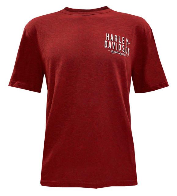 Harley-Davidson Men's H-D Short Sleeve Crew-Neck Cotton Blend T-Shirt - Red - Wisconsin Harley-Davidson
