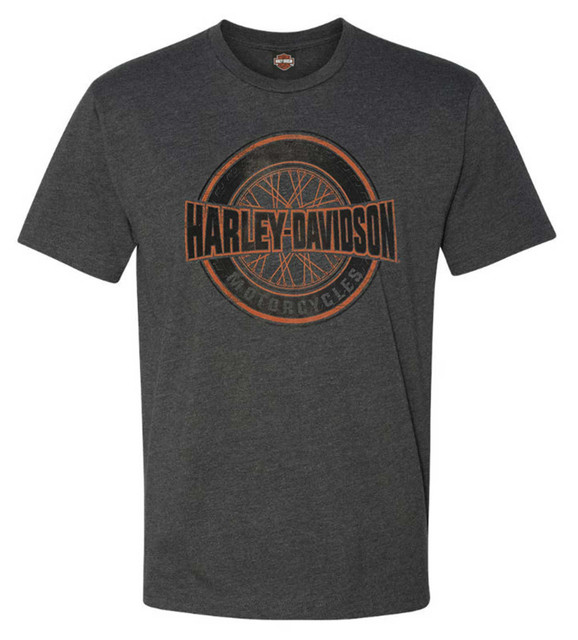 Harley-Davidson Men's Roads to Conquer Short Sleeve Crew-Neck Graphic Tee, Gray - Wisconsin Harley-Davidson