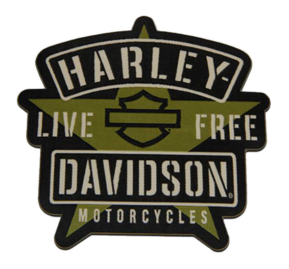 Harley-Davidson 4.5in. Woven H-D Military Star Emblem Sew-On Patch - Green/Black - Wisconsin Harley-Davidson