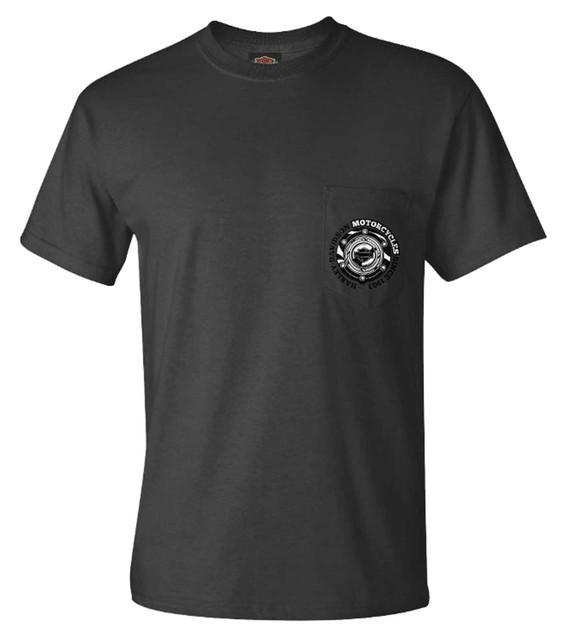 Harley-Davidson Men's Gas Cap Chest Pocket Short Sleeve T-Shirt - Charcoal Gray - Wisconsin Harley-Davidson