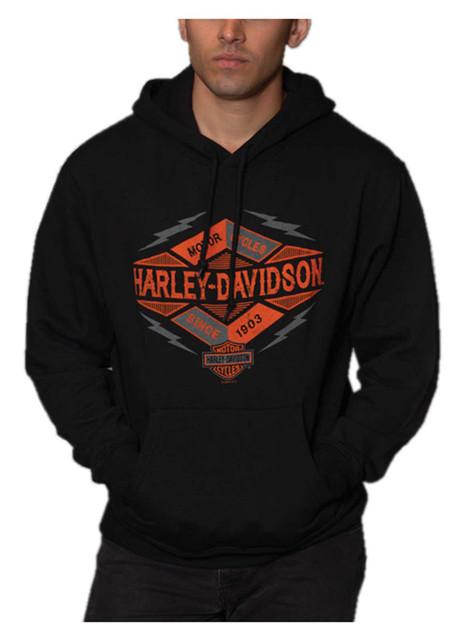 Harley-Davidson Men's Summons H-D Pullover Poly-Blend Fleece Hoodie, Black - Wisconsin Harley-Davidson