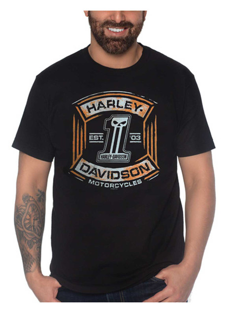 Harley-Davidson Men's Punish Crew-Neck Short Sleeve Cotton T-Shirt, Black - Wisconsin Harley-Davidson