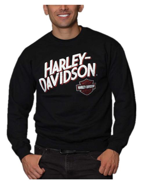 Harley-Davidson Men's Profound Poly-Blend Crew-Neck Pullover Fleece Sweatshirt - Wisconsin Harley-Davidson