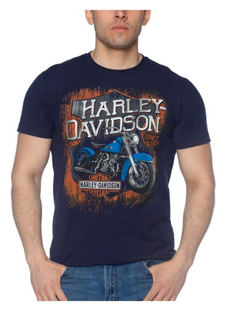Harley-Davidson Men's Streaks Short Sleeve Crew-Neck Cotton T-Shirt, Navy Blue - Wisconsin Harley-Davidson