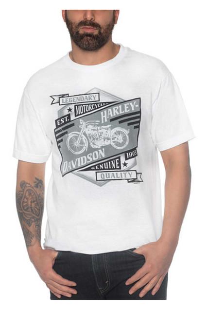 Harley-Davidson Men's Primal Bike Crew-Neck Short Sleeve Cotton T-Shirt - White - Wisconsin Harley-Davidson