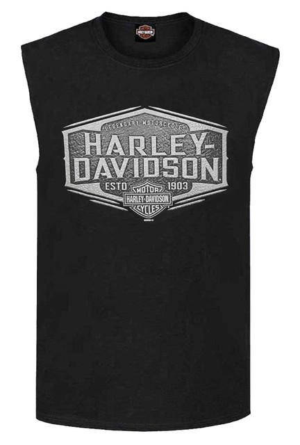 Harley-Davidson Men's Heavy Metal B&S Sleeveless Cotton Muscle Tee - Black - Wisconsin Harley-Davidson