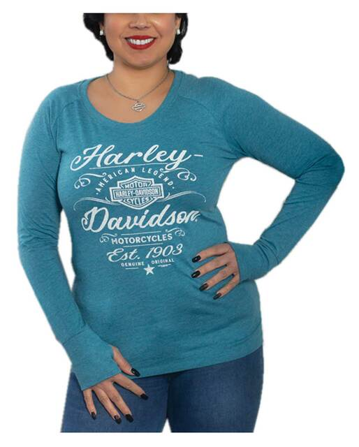 Harley-Davidson Women's Amorous Long Sleeve Poly-Blend Raglan Shirt, Blue - Wisconsin Harley-Davidson