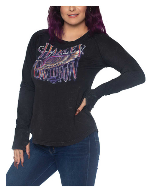 Harley-Davidson Women's Weathered Long Sleeve Cotton Shirt, Black Mineral Wash - Wisconsin Harley-Davidson