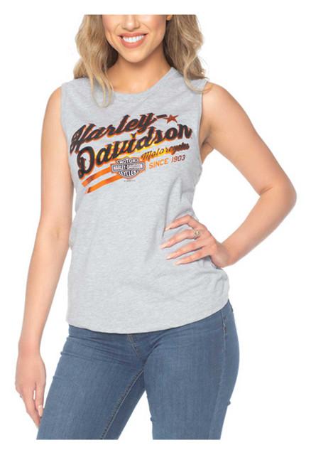 Harley-Davidson Women's Foiled H-D Sleeveless Poly-Blend Tank Top, Heather Gray - Wisconsin Harley-Davidson