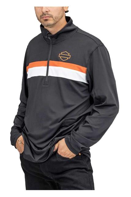 Harley-Davidson Men's Performance 1/4-Zip Pullover Sweatshirt - Black 96026-22VM - Wisconsin Harley-Davidson