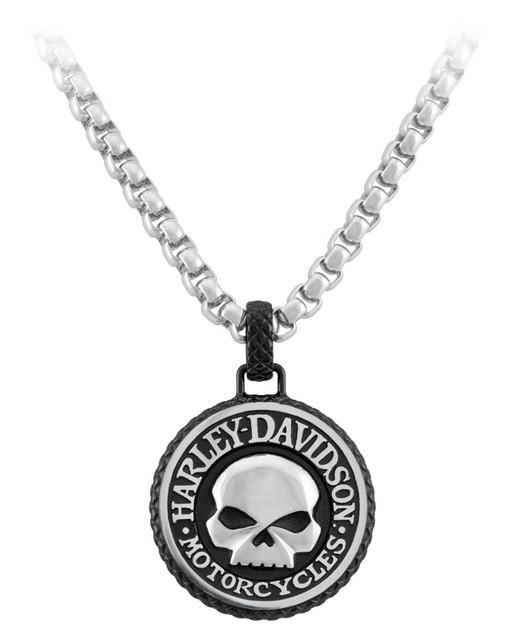 Harley-Davidson Men's Steel Double Sided Rolo Chain Skull Logo Metal Necklace - Wisconsin Harley-Davidson