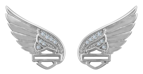Harley-Davidson Women's Bling Wing Bar & Shield Post Earrings, Sterling Silver - Wisconsin Harley-Davidson