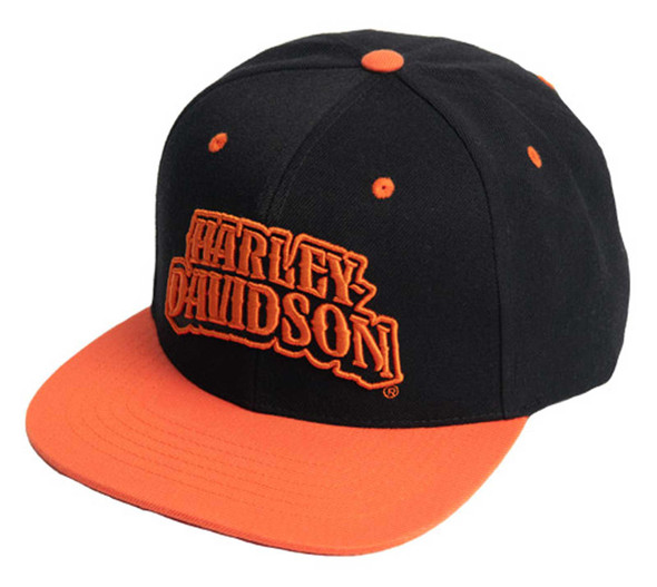 Harley-Davidson Men's Riding Out Snapback Flat Brim Baseball Cap - Black/Orange - Wisconsin Harley-Davidson