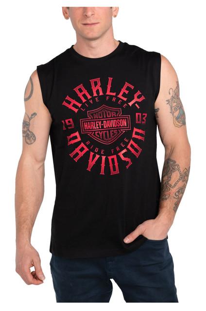 Harley-Davidson Men's Keen Glow B&S Sleeveless Cotton Muscle Shirt, Black - Wisconsin Harley-Davidson