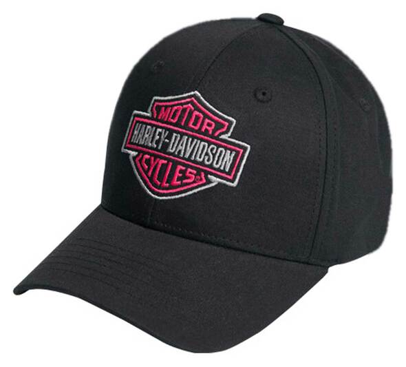 Harley-Davidson Women's Pink B&S Curved Bill Slide Buckle Baseball Cap - Black - Wisconsin Harley-Davidson