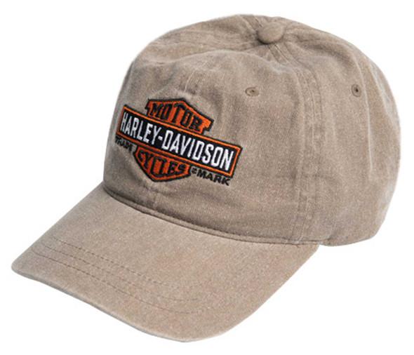 Harley-Davidson Men's Elongated B&S Curved Bill Adjustable Washed Baseball Cap - Wisconsin Harley-Davidson