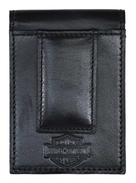 Harley-Davidson Men's Traditional B&S Front Pocket Leather Clip Wallet - Black - Wisconsin Harley-Davidson
