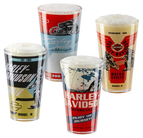 Harley-Davidson Vintage Poster Graphics Set of Four Pint Glasses Set - 16 oz. - Wisconsin Harley-Davidson