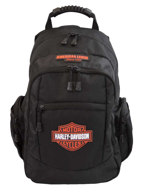 Harley-Davidson Men's Classic Bar & Shield Backpack, Black BP1932S-Orange - Wisconsin Harley-Davidson