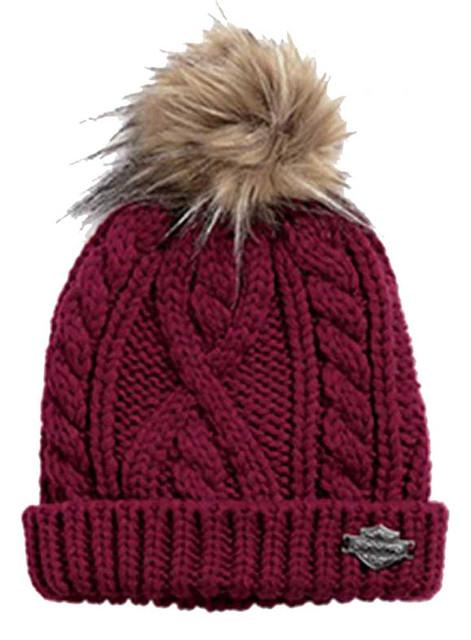 Harley-Davidson Women's Cable Knit & Faux Fur Hat Cap, Cabernet Red. 97819-16VW - Wisconsin Harley-Davidson
