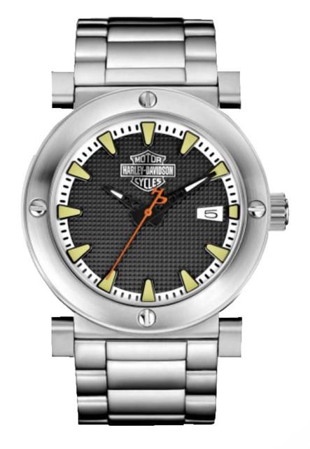Harley-Davidson Men's Bulova Grey Bar & Shield Wrist Watch 76B165 - Wisconsin Harley-Davidson