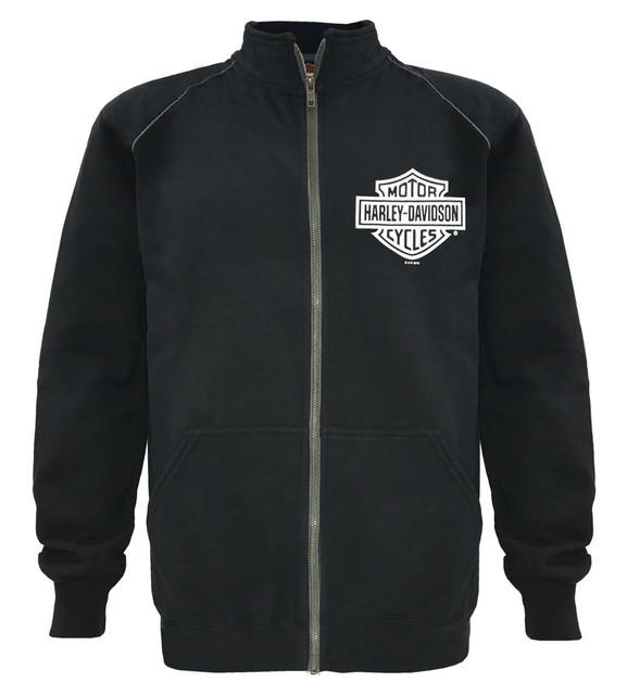 Harley-Davidson Men's Track Jacket Bar & Shield Black Zip Warm Up 30296616 - Wisconsin Harley-Davidson