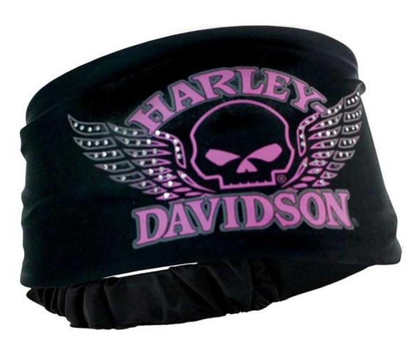 Harley-Davidson Women's Headband Scrunchie, Studded Winged Skull, Black HE71530 - Wisconsin Harley-Davidson